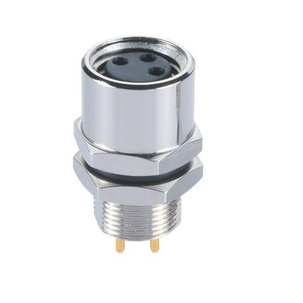 M8 3芯PCB母座电子连接器板端后锁M8航空插座