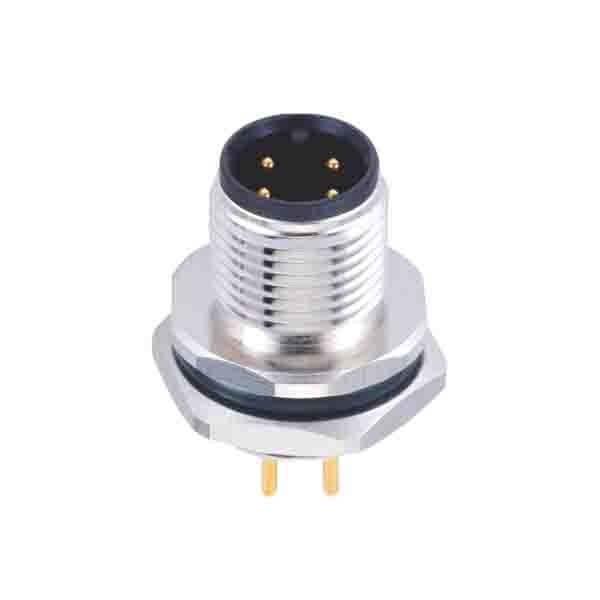 M12 防水连接器4芯A型板端插座公头后锁板直式接PCB板焊接式