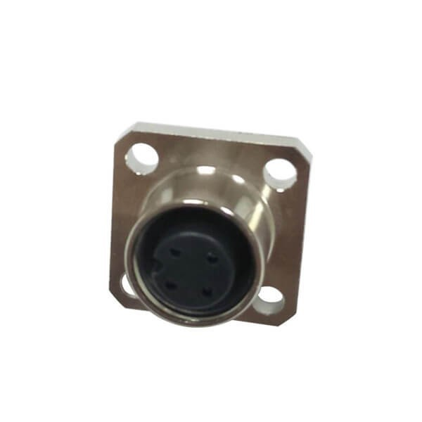 M12传感器接头4芯母头A扣板端插座防水直式法兰安装焊接式连接器