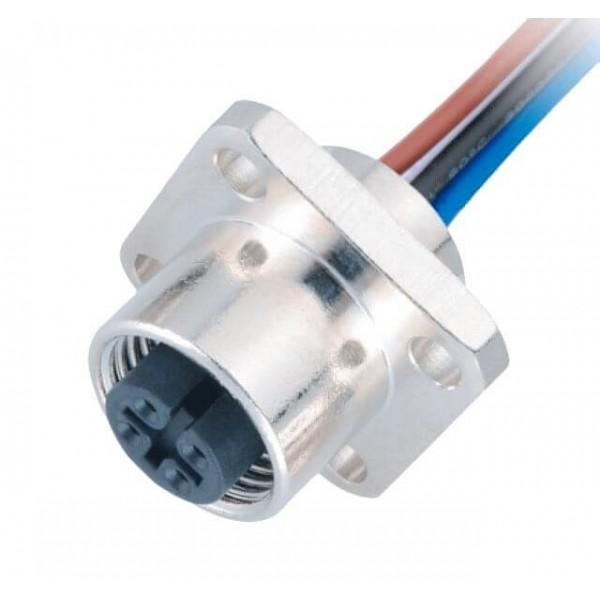 电气接头M12连接器4Pin A型 法兰母座直式带屏蔽1M AWG22带线型防水传感连接器