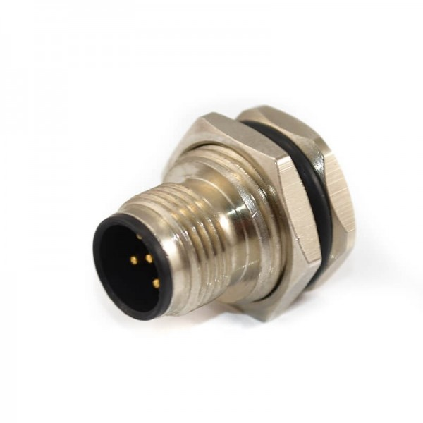 航空插头M12 5芯连接器A扣直式公头前锁板焊线接线防水工业插座