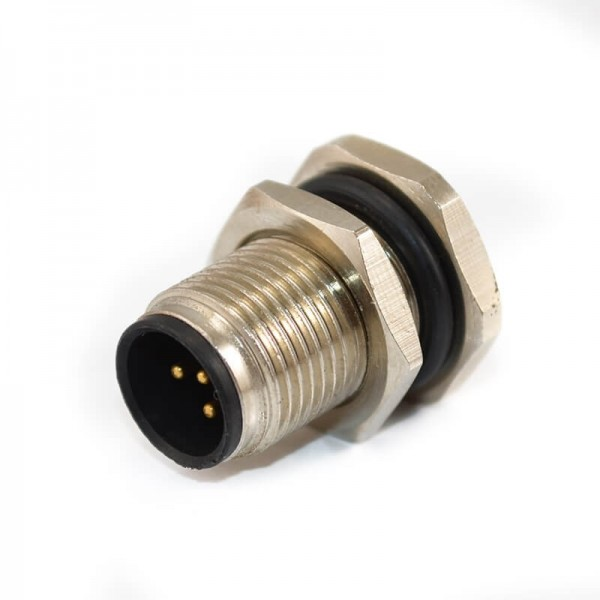 M12连接器5芯A型板端公座直式焊线式前锁工业防水传感连接器