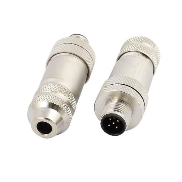 M12现场组装插头A编码5芯公直式带屏蔽金属外壳