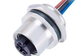 M12连接器 3pin 母头后锁带线50CM AWG22 A编码IP67防水连接器 带屏蔽