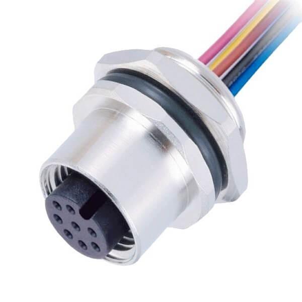 M12连接器 8pin 母头后锁带线型A扣板端插座带线50CM AWG24带屏蔽