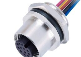 M12传感连接器 12pin A型板端母座子焊接带线1M AWG26防水插头带屏蔽