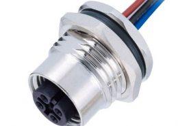 M12 5芯传感器A扣母头板端焊线座子带线50CM AWG22带屏蔽