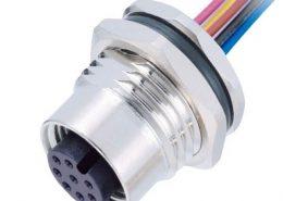 M12 8芯传感器A扣母头板端焊线座子带屏蔽带线1M AWG24