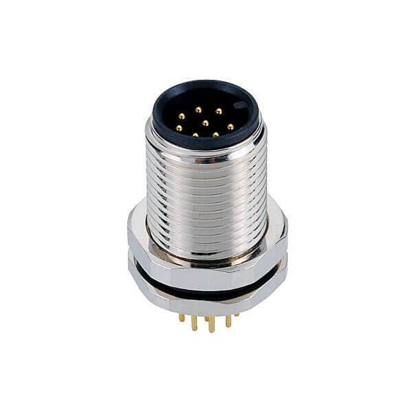 M12 8芯公头前锁板PCB插板座子防水接头