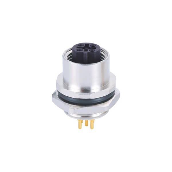 M12 5芯 B Code板端母座PCB焊接型后锁防水传感连接器