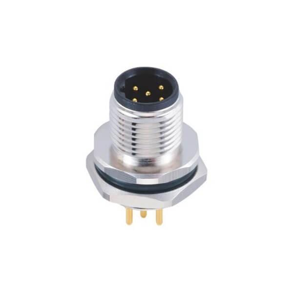 M12连接器5P 公c插座 B型板端PCB插板式 后锁工业防水传感连接器