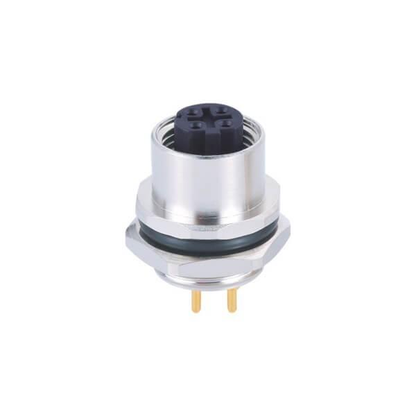 M12连接器4芯D型板端母座PCB焊接型后锁工业防水传感连接器
