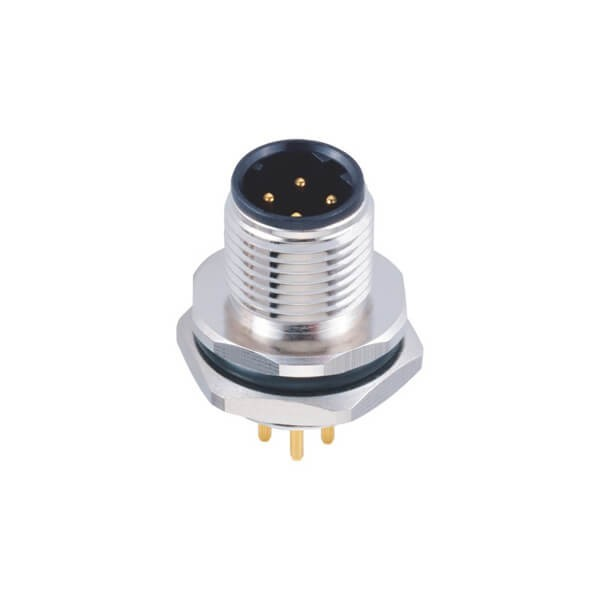 M12连接器4芯板端D型公座PCB插板式后锁工业防水传感连接器