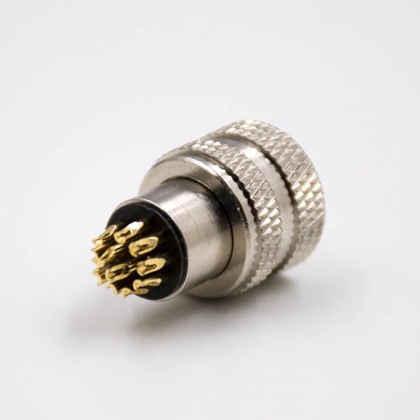 传感器M12接头注塑成型式A扣12芯母头直式接线焊线式带屏蔽连接器