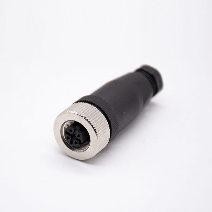 M12现场组装插头D编码4芯母直式不带屏蔽塑料外壳PG7