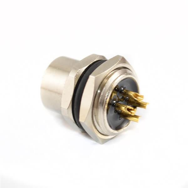 M12连接器4 芯A型板端母座直式焊线式后锁工业防水传感连接器