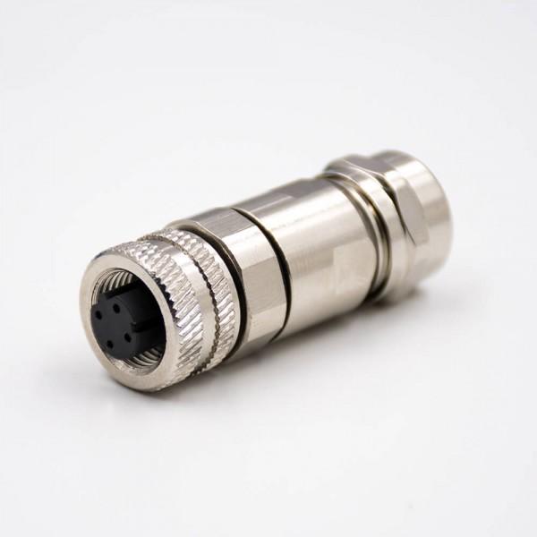M12现场组装插头D编码4芯母直式带屏蔽金属外壳