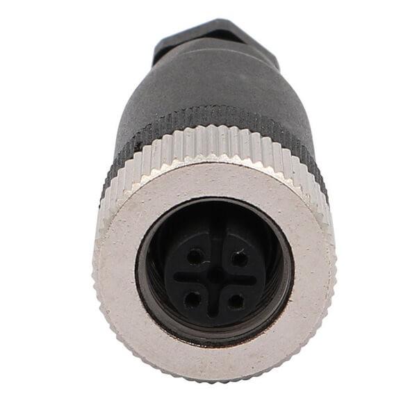 M12现场组装插头A编码5芯母直式不带屏蔽塑料外壳PG7