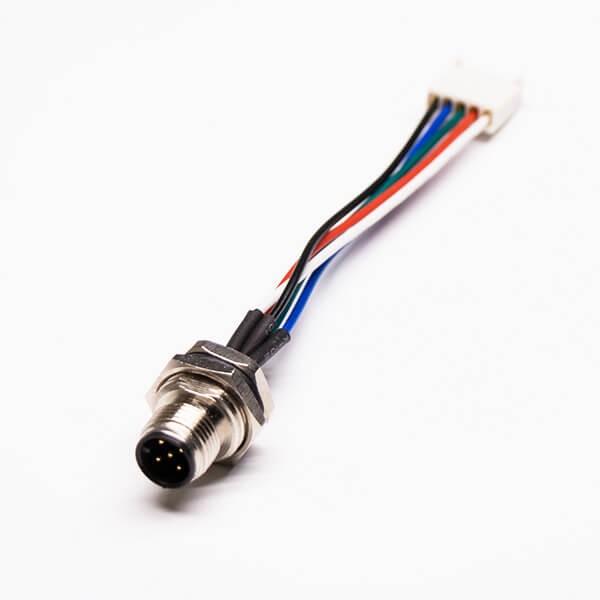 圆形连接器M12 5芯公头A编码前锁板带屏蔽转 5Pin端子线长30CM AWG24