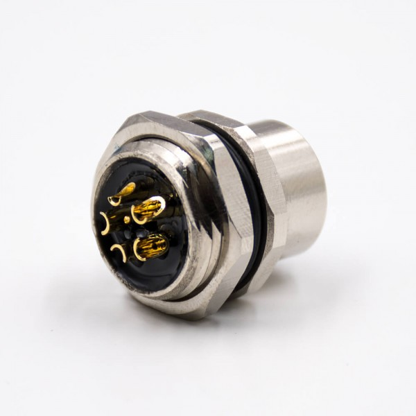 M12圆形连接器5芯L扣母头直式防水带屏蔽后锁板板端插座接线焊接式传感器