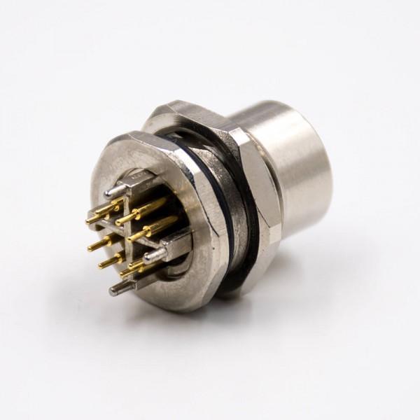 M12防水金属连接器8芯X扣板端插座母头直式插孔前锁板传感器