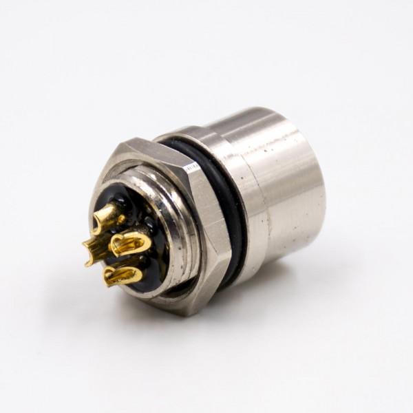 M12母头4芯T扣直式后锁板防水带屏蔽板端插座接线焊接式连接器