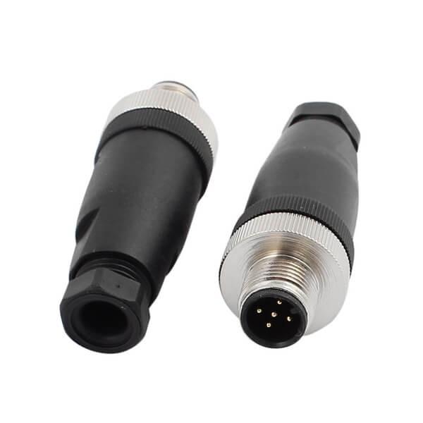 M12现场组装插头A编码5芯公直式不带屏蔽塑料外壳PG7定制