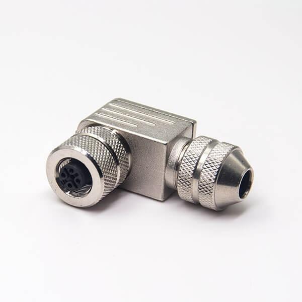 M12现场组装插头A编码5芯母弯式带屏蔽金属外壳