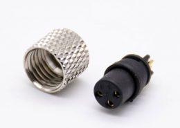 m8连接器直头3芯注塑母头焊杯不带屏蔽