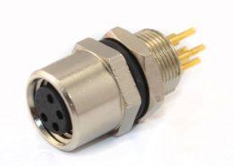 PCB板M8接头PCB连接器板端后锁A型4芯防水母插座航空连接器