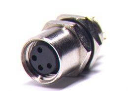 M8 传感器插座A 型板端后锁焊线式连接器4芯母插座