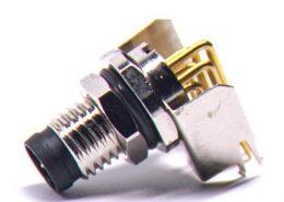 M8弯角PCB板端前锁连接器A型6芯防水公座传感器