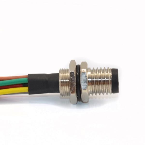 M8焊线式航空插座A型直式防水板端8芯公插座接26AWG线长0.5米航空连接器
