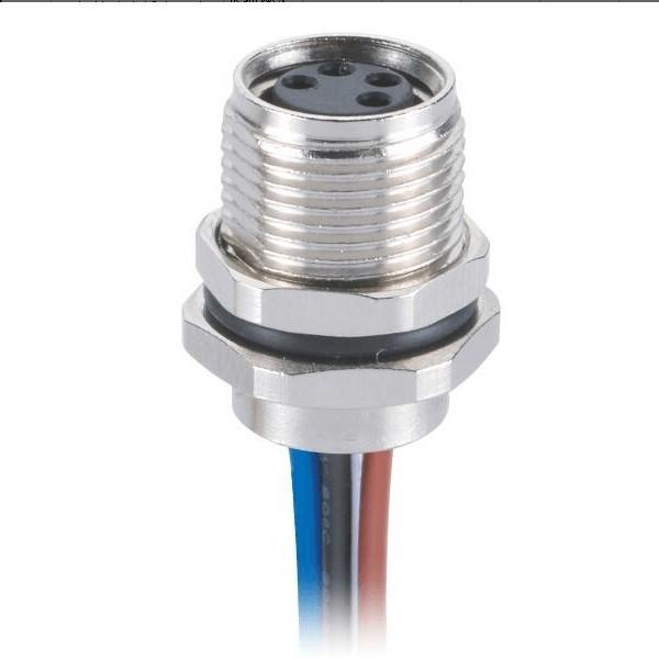 M8传感器插座4芯圆形航空连接器直式防水前锁板端母插座接24AWG线长0.5米
