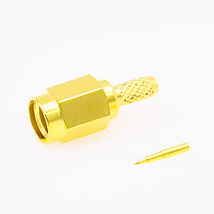 压接型SMA公头连接器直式用于RG174 / RG316