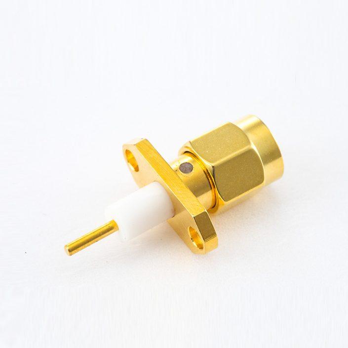 面板安装SMA连接器公头直式2孔法兰PCB安装焊板