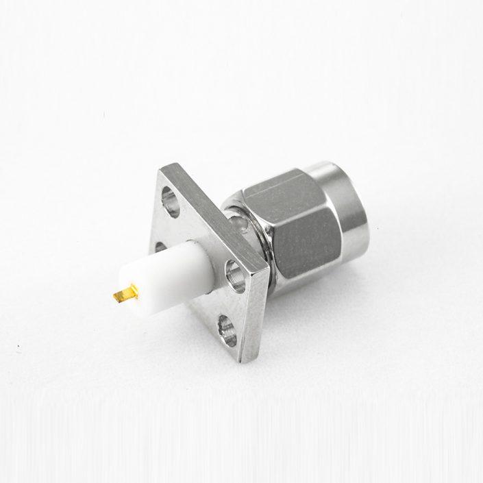 面板安装SMA连接器公头型直式PCB安装焊板4孔法兰