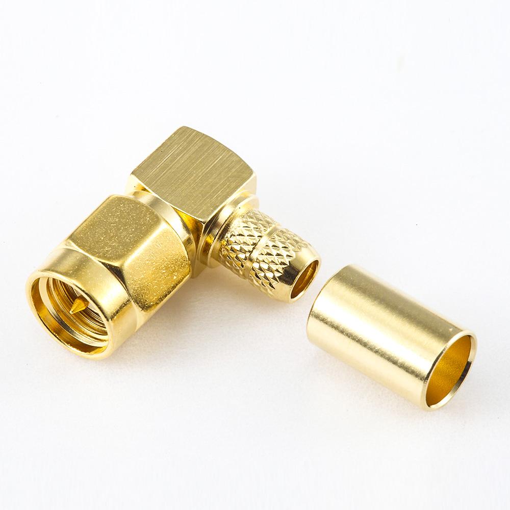 SMA公头弯式弯形压接器用于RG58 / RG142 / SYV50-3