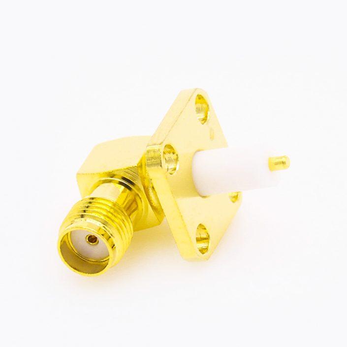 4孔SMA连接器母头弯式PCB安装焊板