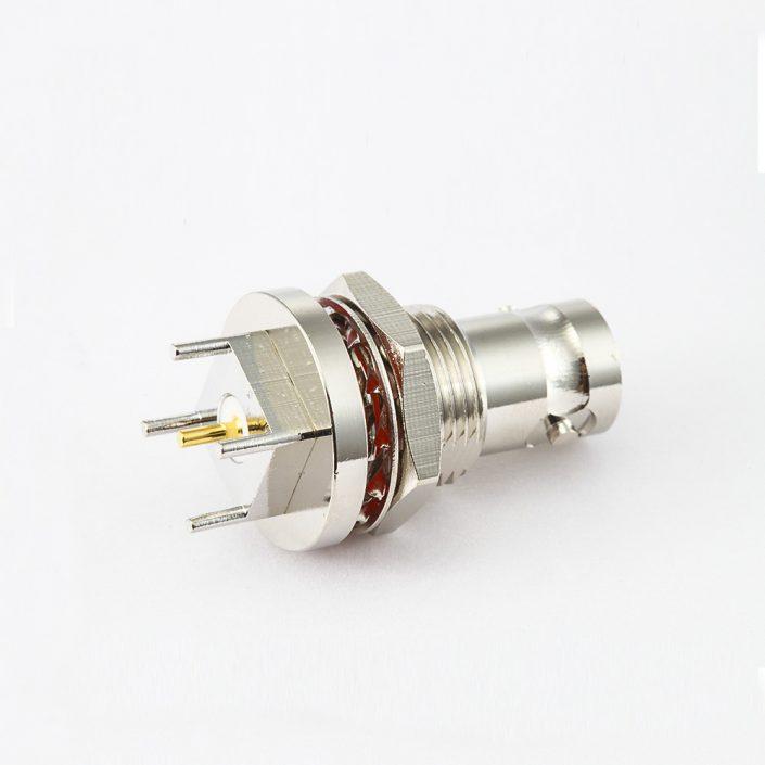 母头BNC连接器PCB安装直插孔50ohm前锁穿墙
