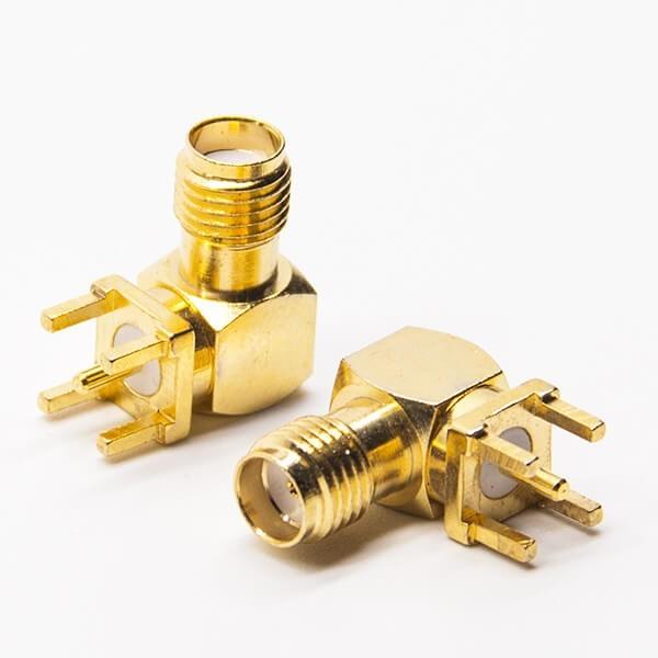 SMA连接器,弯式,母头,穿孔,PCB板,镀金