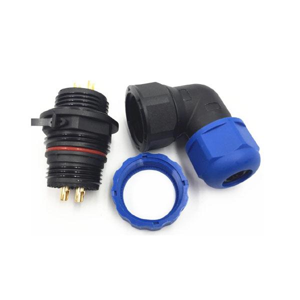 IP68防水航空插头插座 2芯弯式连接器SP21镀金30A