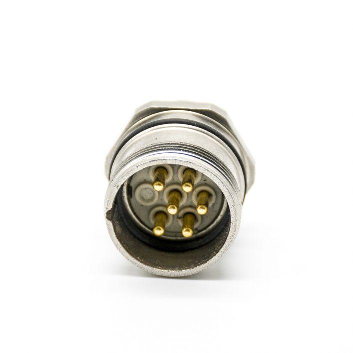 直式M23连接器6针公头焊线连接器