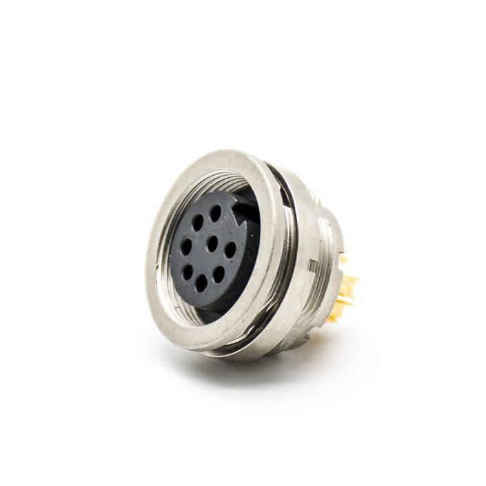 M16 8芯母插座连接器后锁板焊线连接器直式