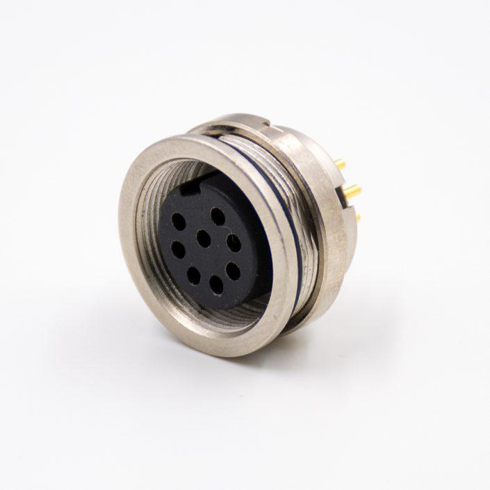 圆8芯插座引脚M16母头A扣直式穿墙PCB板连接器板端插座焊接