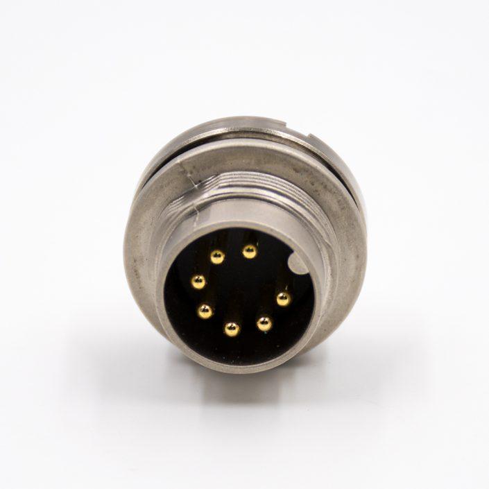 公插座M16板端插座A扣7芯180°后锁板接线传感器连接器