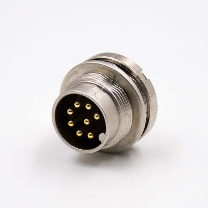 M168p前装面板头板端插座A扣公头直式前锁板接线焊接式传感器连接器