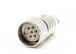 M23现场组装插头6芯母直式带屏蔽金属外壳M23*1.0