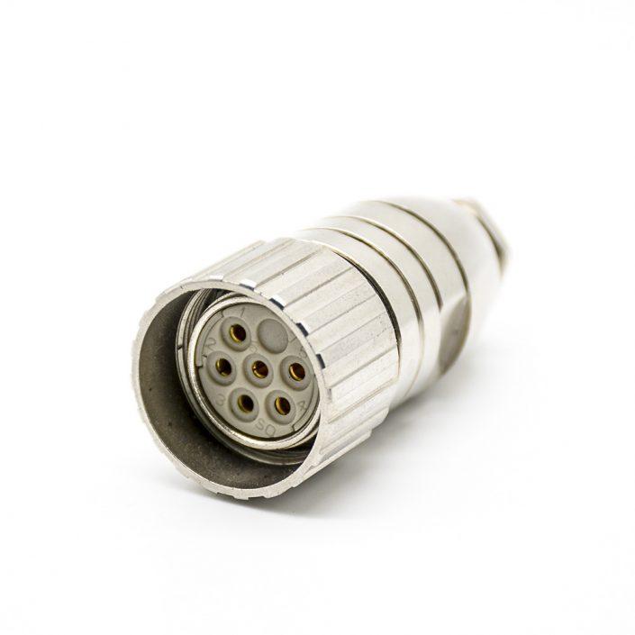 M23 6针母头直式焊线连接器