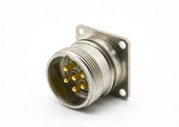 M23法兰连接器6芯公插座直式4孔法兰焊线连接器